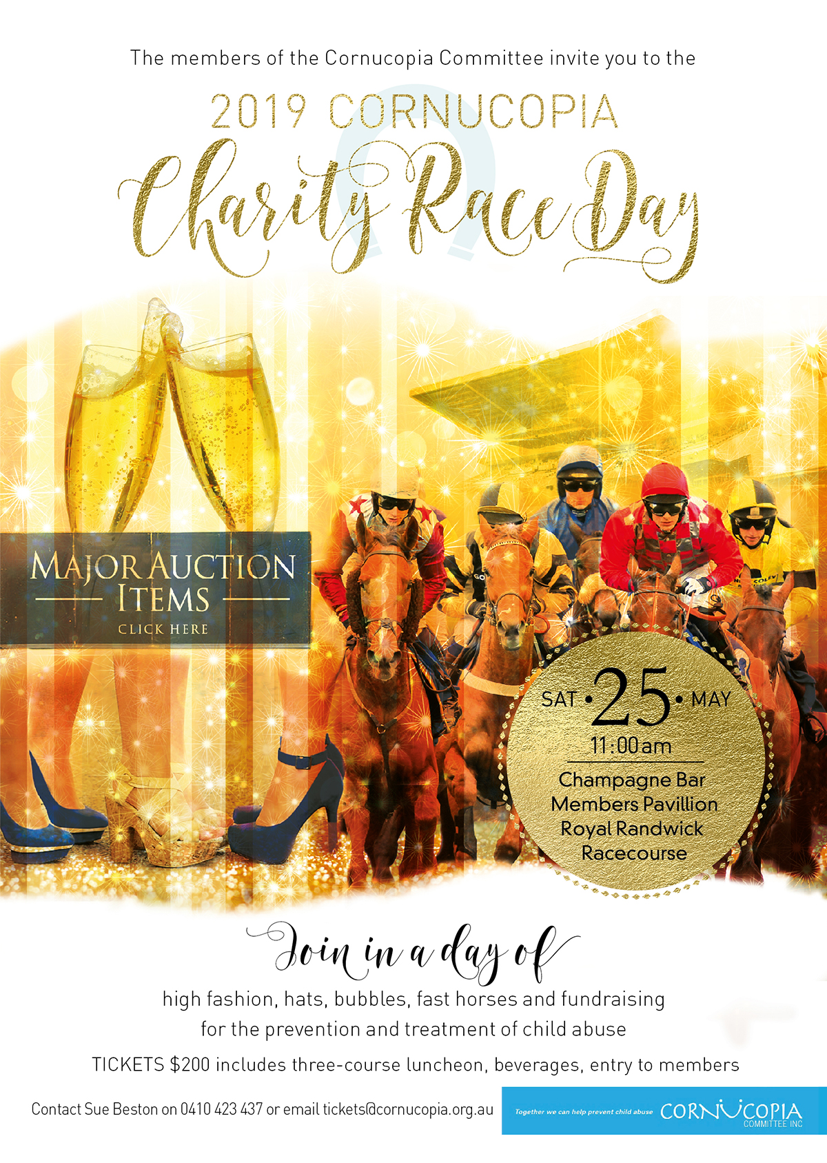 Save the Date Charity Race Day Saturday 25th May at Royal Randwick with great auction prizes.