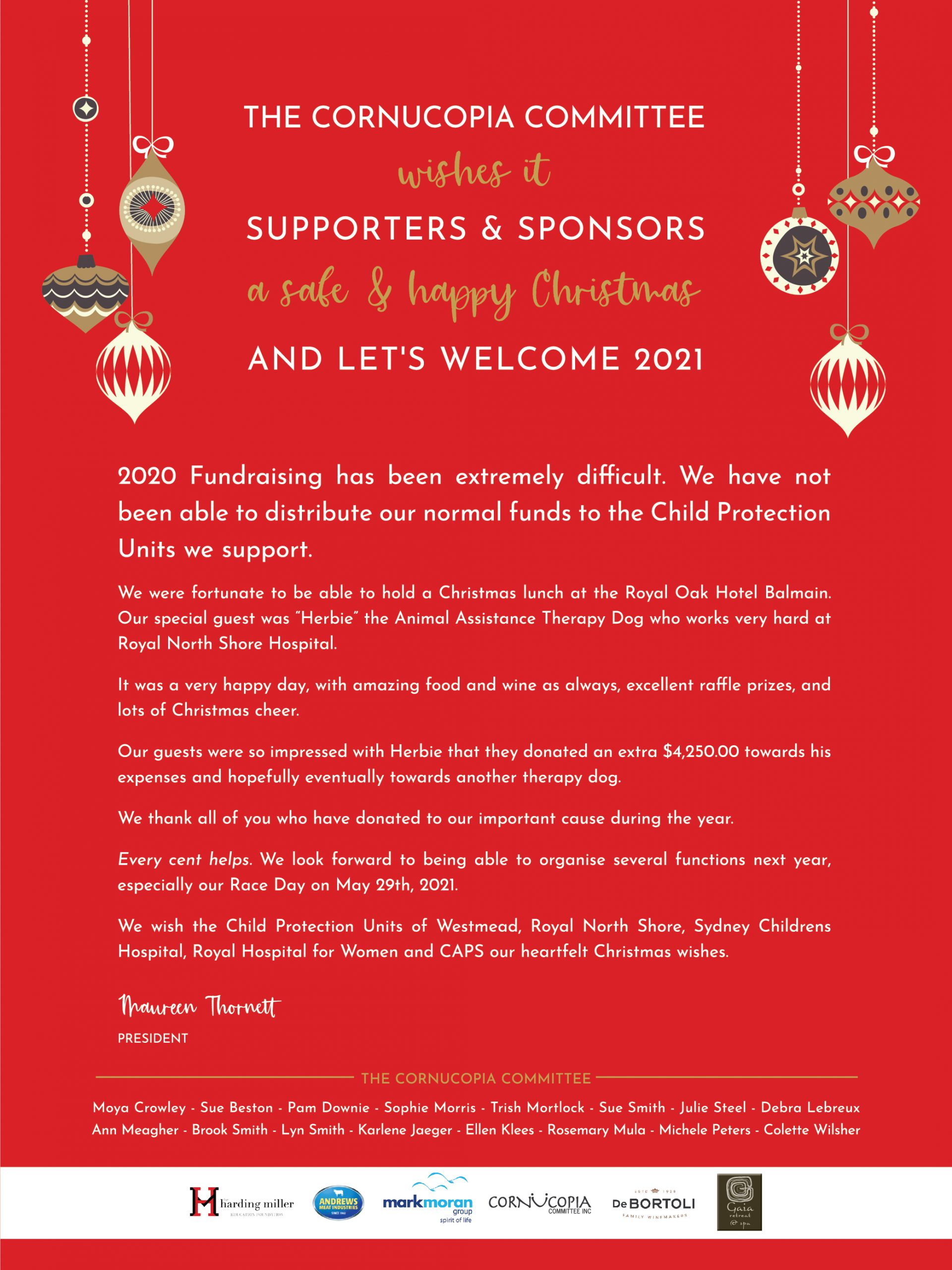 Wishing Supporters and Sponsors a Safe and Happy Christmas